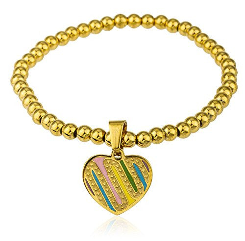 Goldtone with Multicolors Stainless Steel Heart...