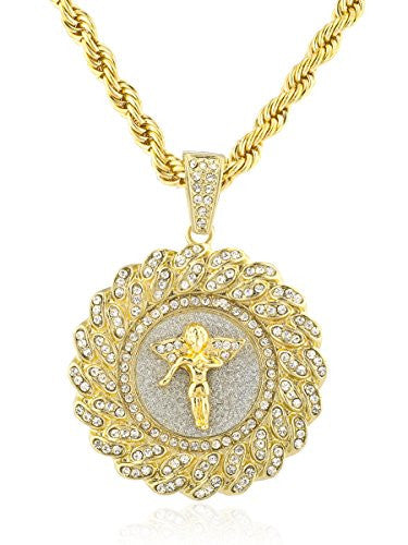 Goldtone Iced Out Round Angel Pendant...