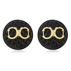 Black Quilted Circle Shape with Goldtone Enamel Handcuff Stud Earrings
