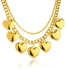 Goldtone Double Layered Rope and Cuban Chain with Heart Charms Necklace