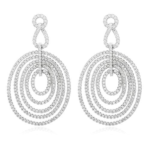925 Sterling Silver Fancy Multi Design Oval Earrings and Pendant with a 16 Inch Necklace
