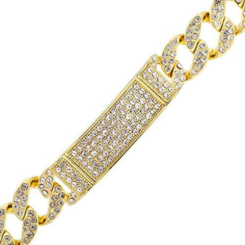 Men's Iced Out ID Cuban Chain 9.75 Inch Bracelet with Snap Clasp