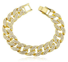 Men's Iced Out Cuban 9 Inch 15mm Link Bracelet with Snap Clasp