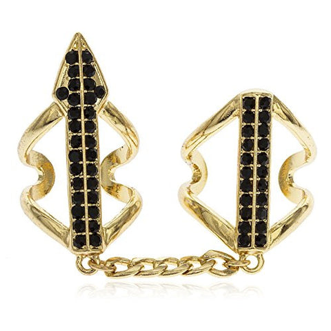 Goldtone Full Finger Arrow with Black Stones Midi Finger Ring