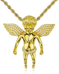 925 Sterling Silver Iced Out Cz Baby Angel Pendant 3mm 24 Inch Brass Rope Chain