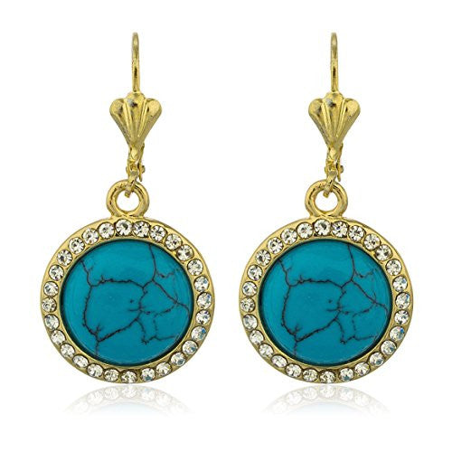 Two Year Warranty Gold Overlay Turquoise Drop Earrings with Stones
