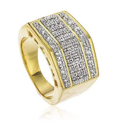 Men's Goldtone Iced Out Block Style Finger Ring Sizes 8-13