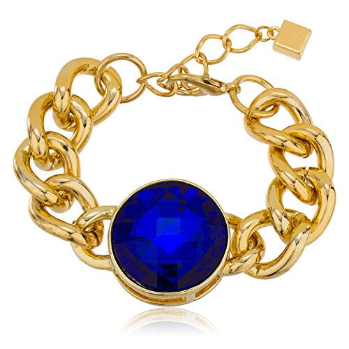 Goldtone with Blue 'Crystal Clear' Adjustable...