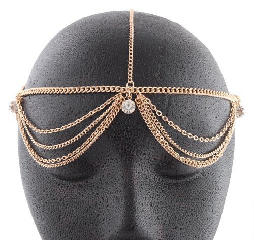 Goldtone with Clear Studded Adjustable Head...