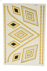 Metallic Temporary Tattoos Chain and Diamond Set -Single Sheet Assorted Styles Bracelets, Necklaces, and Popular Symbols