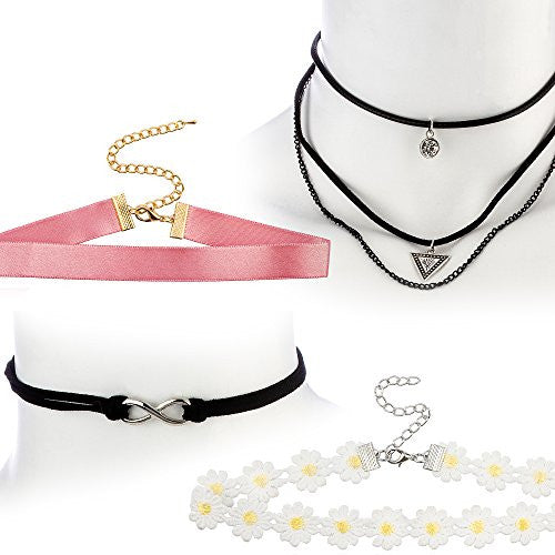 Ultimate Collection Set of Four Choker Set (Black Layered w Infinity, 3 Layer w Pyramid, Pink Satin, Daisy Choker), Bow Tie Wrap Around