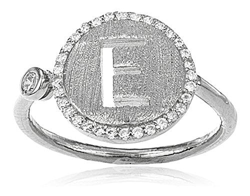 925 Sterling Silver Letters of the Alphabet with Cz Stones Adjustable Ring (E Silver)