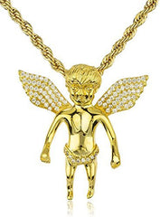 925 Sterling Silver Iced Out Cz Mini Baby Angel Pendant 3mm 24 Inch Brass Rope