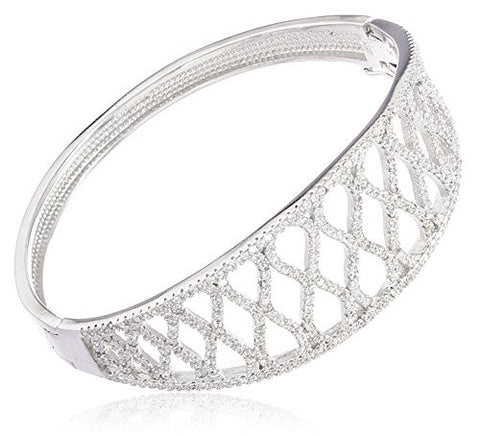 925 Sterling Silver Fancy Bridal Bangle Bracelet with Cubic Zirconia Stones (Silver)