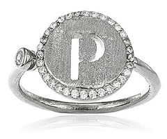 Sterling Silver Ring Letters of the Alphabet with Cz Stones Adjustable (P Silver Ring)