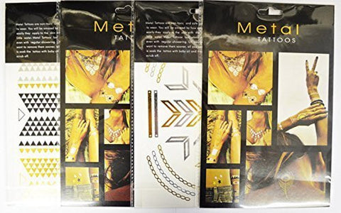 Metal Tattoos in Gold and Silver - Pack of Four Assorted Styles Bracelets, Necklaces, and Popular Symbols