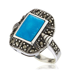 925 Sterling Silver Swiss Marcasite Square Turquoise Ring