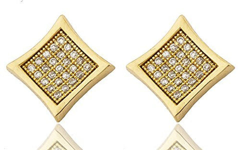 Mens Pair of 925 Sterling Silver Micro Pave Iced Out Goldtone Square Shaped Stud Earrings