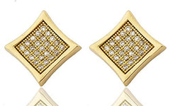Mens Pair of Sterling Silver Stud Earrings Micro Pave Iced Out Goldtone Square Shaped