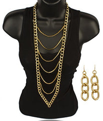Goldtone 6 Layer Dangling Body Chain Style 18-24 Inch Adjustable Necklace and Matching Earrings Jewelry Set