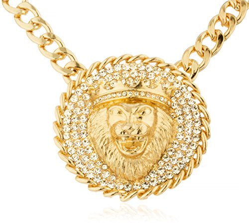 Goldtone Iced Out Round Lion Head...
