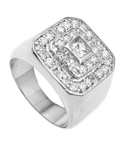 Men's Silvertone CZ Layered Squares Ring...