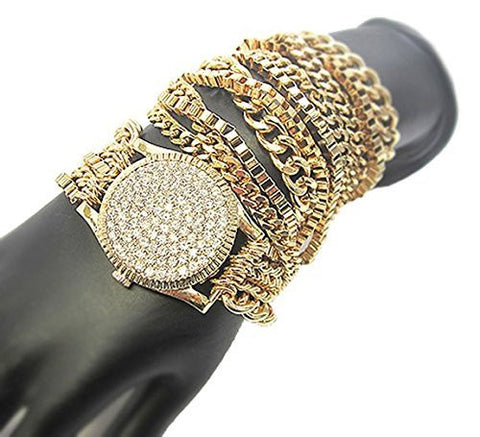 Simulated Wrist Watch Inspired Style Adjustable Assorted Chain Wrap Bracelet - 3 Colors Available