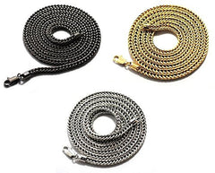 Goldtone, Hematite and Silvertone 36 Inch Franco Chain Necklace Set