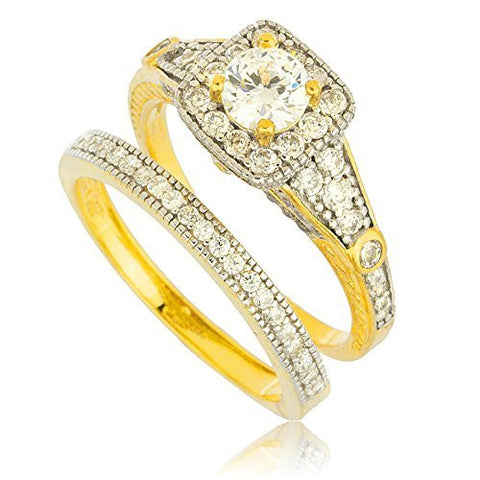 925 Sterling Silver Goldtone with Multiple Cz Stone Engagement Ring 2 Piece Set Sizes 6-9