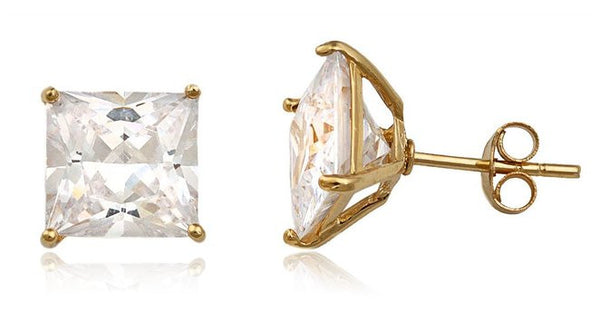 925 Sterling Silver Cz Square Basket Setting Stud Earrings (yellow-gold-plated-silver, 10 Millimeters)