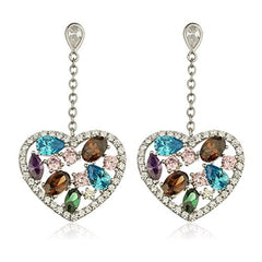 925 Sterling Silver Multicolor Heart Dangling Earrings with Cubic Zacornia Stones