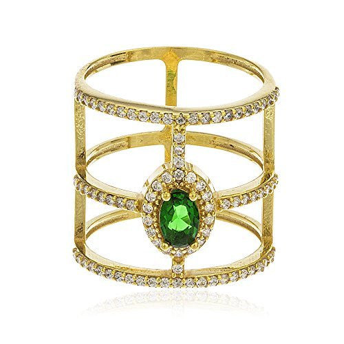 925 Sterling Silver Gold Colored Emerald...