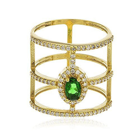 925 Sterling Silver Goldtone Colored Emerald Green Cubic Zirconia Stone with Layered Cz Stones Ring Sizes 6-8