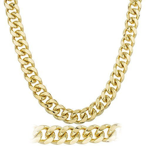 Goldtone Brass Heavy 15mm Round Curb Cuban Chain (30 and 36 Inches)