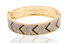 Goldtone with Black 2.5 Inch Iced Out Chevron Bangle Bracelet