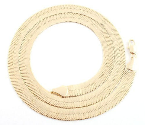 Goldtone 9mm Brass Herringbone Chain - Available in all Lengths