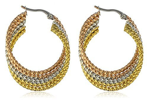 Stainless Steel Rope Style Tri Tone Layered Hoop Earrings