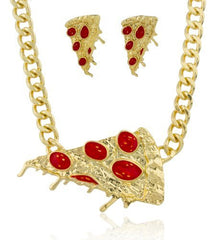 Goldtone with Red Pepperoni Pizza Pendant with an 18-19 Inch Adjustable Cuban Link Necklace with Matching Earrings Jewelry Set