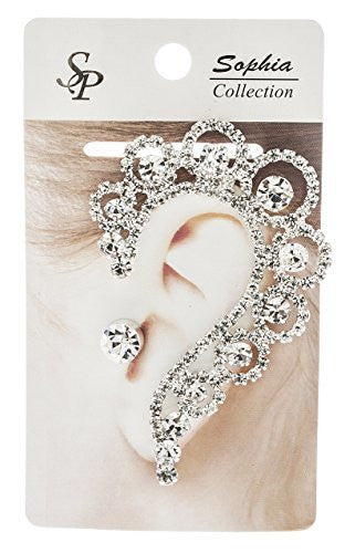 Elegant Ear Cuff with Clear Rhinestones and Stud Earring (Goldtone w/ Clear AB)