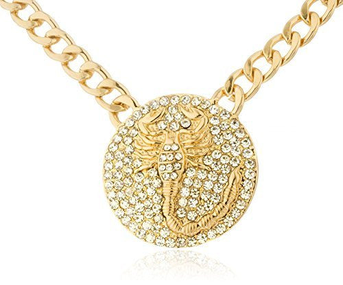 Goldtone Iced Out Round Scorpion Pendant...