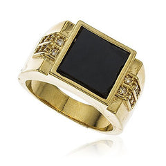Two Year Warranty Men's Gold Overlay Black Square with Cubic Zirconia Stones Finger Ring Sizes 9-12 (12)