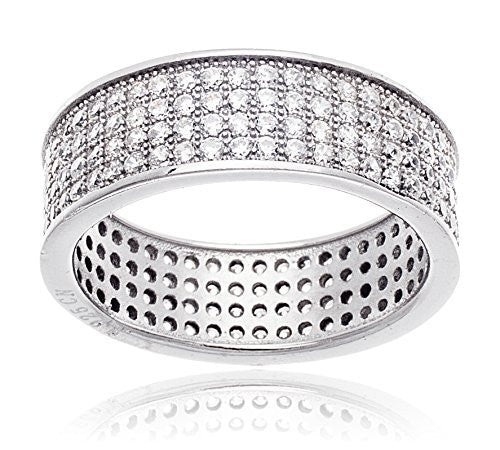Sterling Silver Ring Band with Cubic...