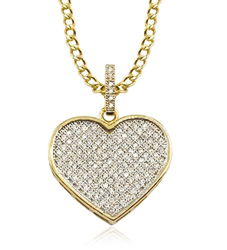 10K Yellow Gold Heart with Cubic...