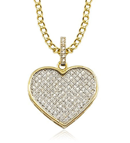 10K Yellow Gold Heart with Cubic Zirconia and a 2mm 18 Inch 10k Gold Cuban Chain