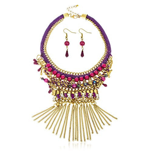Goldtone Multi Beaded Purple Dangling Chain...