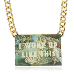 Goldtone 'I Woke Up Like This' Sqaure Picture Plate with a 16 Inch Cuban Necklace