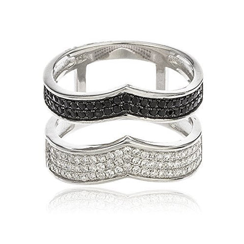 925 Sterling Silver Layered Chevron Style Finger Ring with Silver & Black Cubic Zirconia Stones Sizes From 6-8