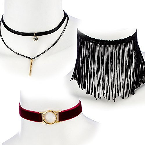Ultimate Collection Set of Three Choker Set (Black Fringe, Burgundy Velvet w/ Open Circle, Layered w/ Stone & Bar)