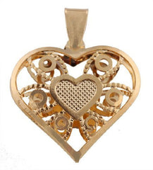 2 Pieces of Gold Overlay 3D Designer Heart Pendant - Two Year Warranty