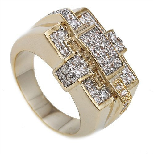 Men's Goldtone Iced Out Box Stitch Ring Sizes 10-11